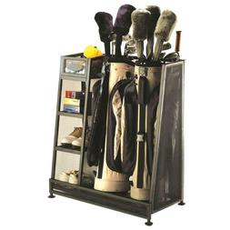 2 Bag Golf Organizer Metal Storage Rack Club Equipment Holde