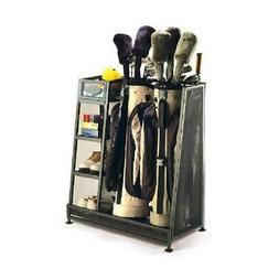 2 Bag Golf Organizer Metal Storage Rack Club Equipment Holde