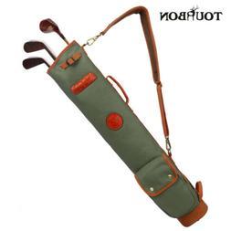 Tourbon 3-Way Vintage Leather Golf Bag Sunday Carry Golf Bag