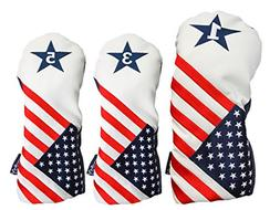 USA 1 3 5 Headcover Patriot Golf Vintage Retro U.S.A Leather