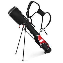 "5"" Sunday Golf Bag Stand 7 Clubs Carry Pockets Travel Storag"