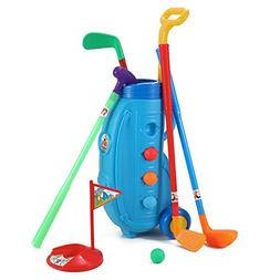 Deluxe Kids Easy Hit Toy Golf Set w/ 4 Balls, 4 Types of Clu