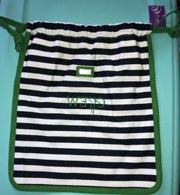 Ame & Lulu Drawstring Golf Shoe Bag, Blue & White Stripes Wi