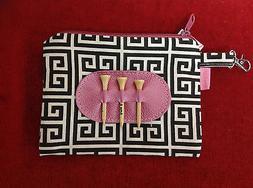 Ame & Lulu Golf Tee Bag - Black/Cream/Pink