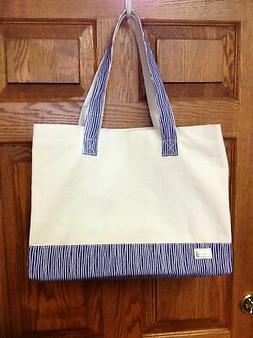 Ame & Lulu NaturalTote Bag - Natural/Royal Blue
