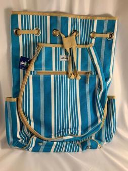 Ame & Lulu Ticking Stripe Kingsley Tennis Backpack Bag Racqu