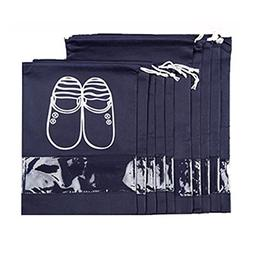 Weishenghuo 10 Pcs Shoe Bags Dust-proof Drawstring with Tran