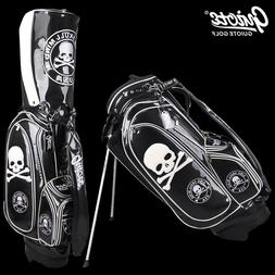 "Black Skull Golf Stand Bag Pu Leather Carry Bag 8-ways 9.0""c"
