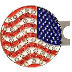 Giggle Golf Bling USA Flag Golf Ball Marker With A Standard