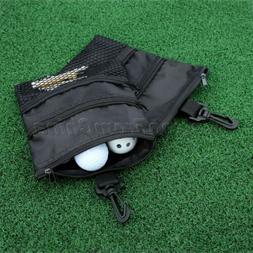 Canvas Black Golf Ball Bag Pouch Case Pocket Storage Bag Hol