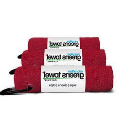 3 Pack of Cardinal Red Microfiber Golf Towels