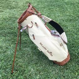 Peter Millar Crown Canvas Stand Golf Bag Brown Leather 5-Way