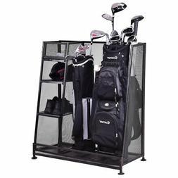 Goplus Dual Golf Organizer Storage Rack Fit 1-2 Golf Bags Cl