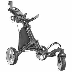 CaddyTek EZ-Fold 3 Wheel Golf Push Cart, Dark Grey