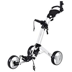 Tangkula Folding Golf Cart 3 Wheels Golf Club Push Pull Cart