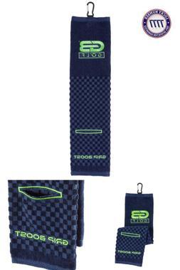 GB Tri-Fold Golf Bag Towel w/Washing Pocket