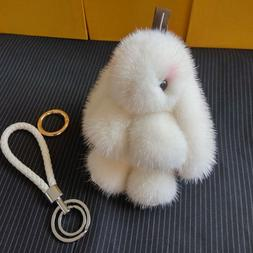 Glaforny Genuine Mink Fur Pom Pom rabbit Keychain 100% Real