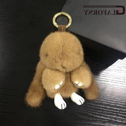 Glaforny Mink Fur Pom Pom rabbit Keychain 100% Real Fur Mons