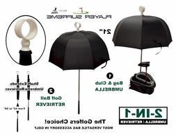 Golf Bag Club Umbrella with Attached Golf Ball Retriever