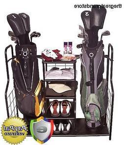 Golf Bag Organizer Garage Metal Storage Holder Portable Club