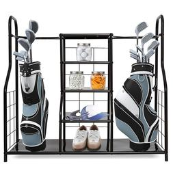 Golf Bag Organizer Storage Rack Dual 3 Shelf Equipment Holde