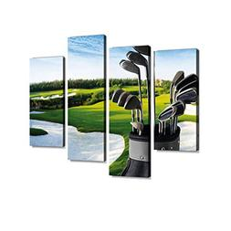 Golf Club and Bag with Fairway Background - XXLarge Canvas W