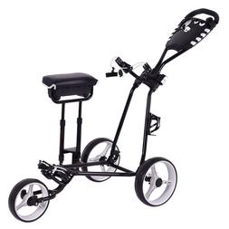 Tangkula Golf Push Pull Cart w/ 3 Wheels Golf Trolley with S