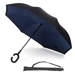 UnaMela Inverted Umbrella, Double Layer Windproof Stand-self