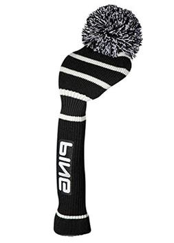 knit driver headcover black white