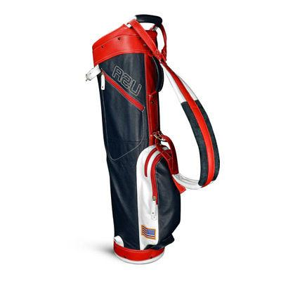 Sun Mountain 2017 Leather Sunday Bag - Navy / White / Red -