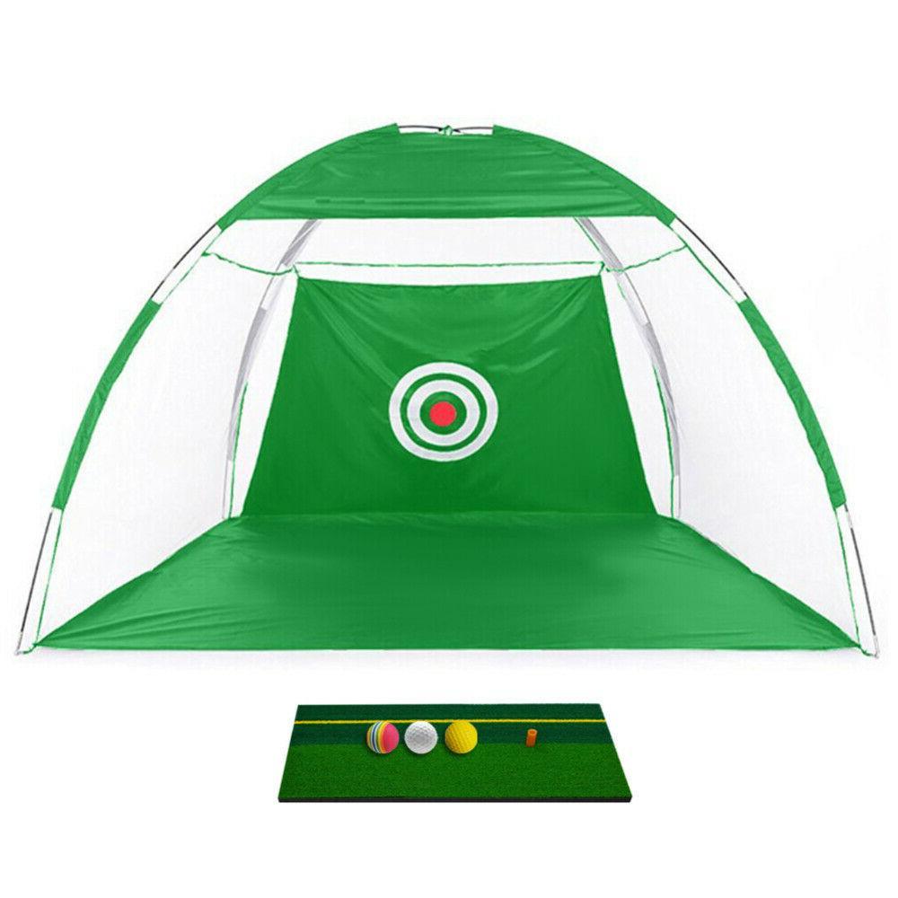 Foldable Golf Cage+Mat+3Ball+Bag Golf Equip