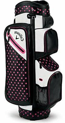 Callaway Golf 2018 Uptown Cart Bag, Polkadot Black/ Coral