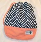 AME & LULU canvas Golf Ditty Bag - peach navy blue - clips o