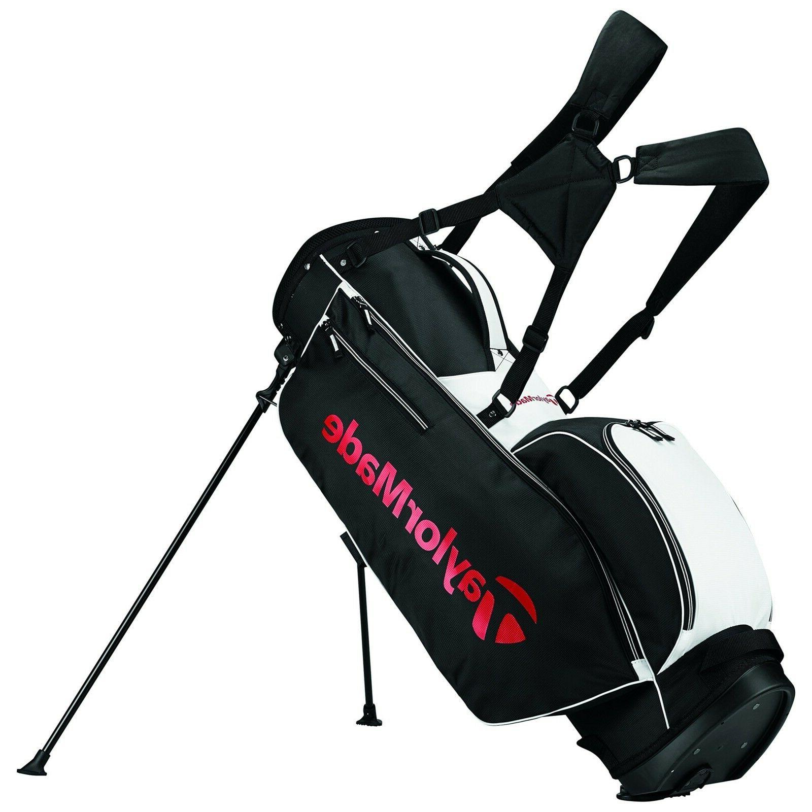 Taylormade Golf Bag >> New Taylormade Golf 2017 5 0 Stand Bag Black White Red