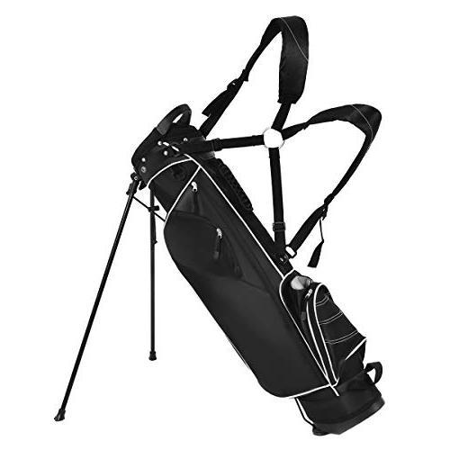 Tangkula Organized Golf Carry Shoulder Bag 3 Dividers 4 Storage,