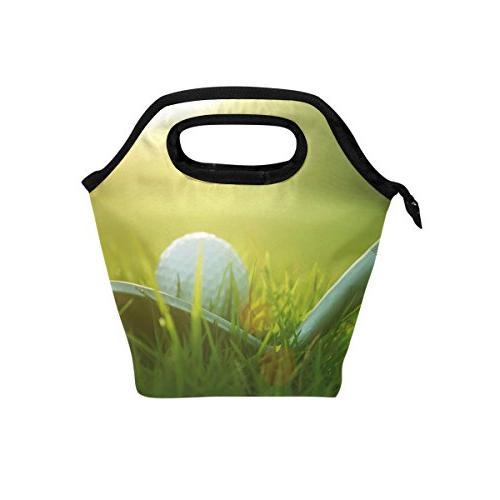 golf ball grass lunch bag