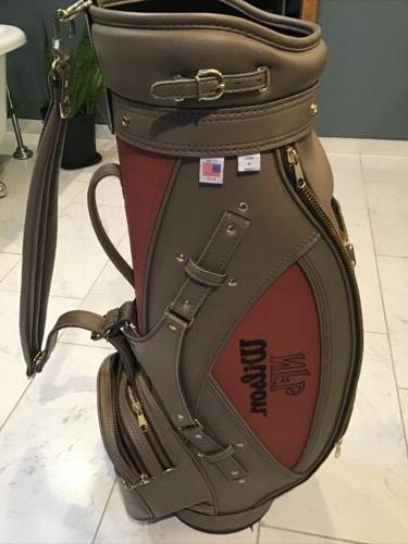 golf nfl pigskin leather football cart bag