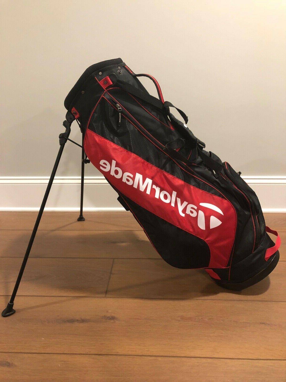 golf stand bag red black