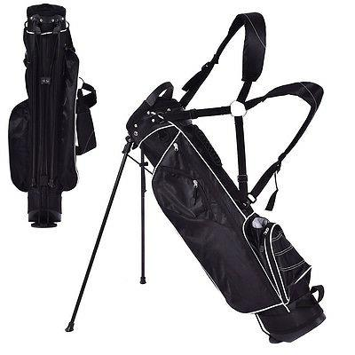 Golf Stand Cart Bag Club w/4 Way Divider Carry Pockets Black