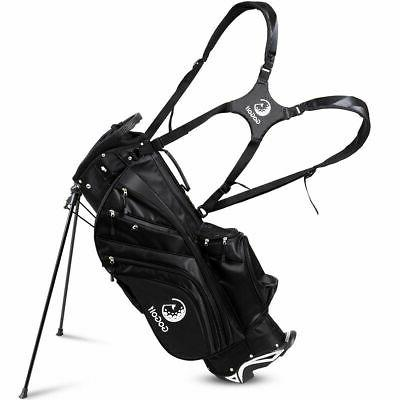 Portable Golf Stand Cart Bag 6 Divider W/Rain Cover Large Ca