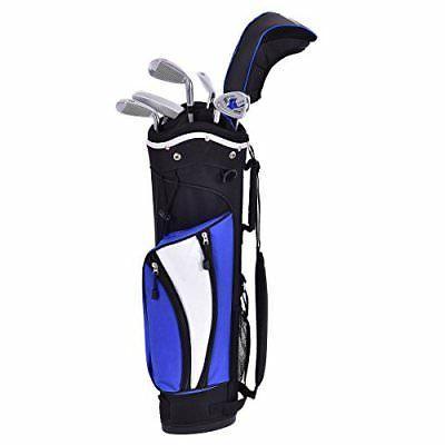 Tangkula Junior Golf Club Set with Stand Bag 6 Piece Wood Ir
