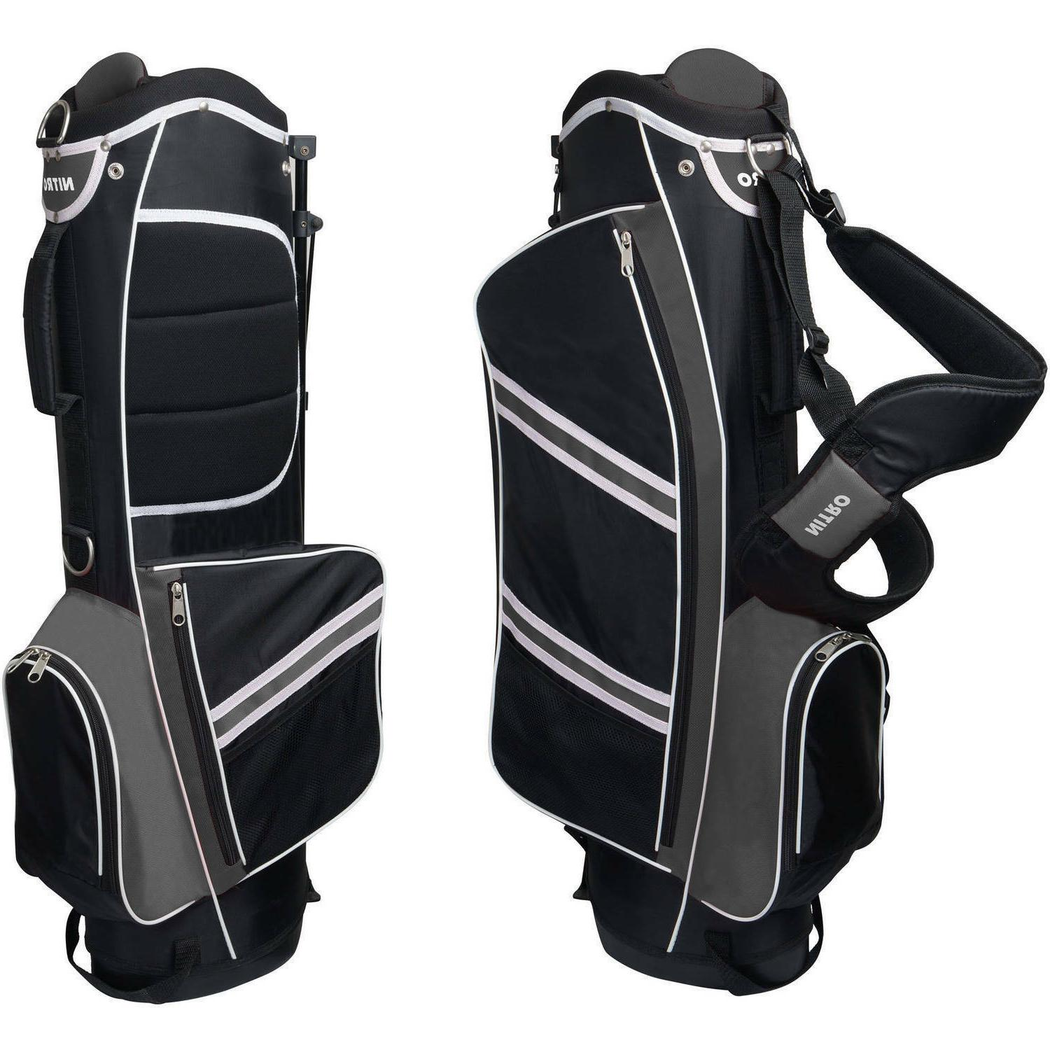 Nitro Lightweight Stand Golf Stand Bag, Black/Silver Dual Pr