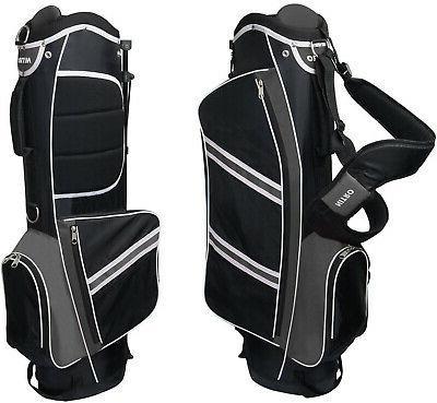 lightweight stand golf bag black silver