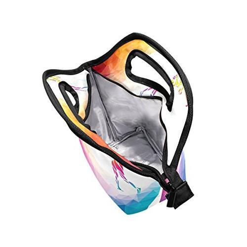 Bettken Lunch Geometric Insulated Reusable Lunch Portable Lunch Bag Kids Girls Adult Men