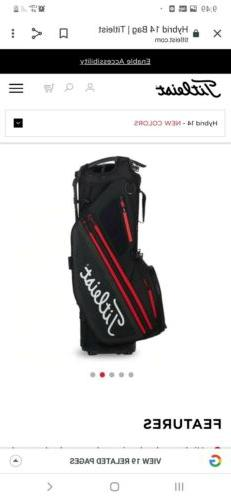 NEW TITLEIST 14 WAY HYBRID STAND BAG  MODEL# TB9SX14-006 BLA
