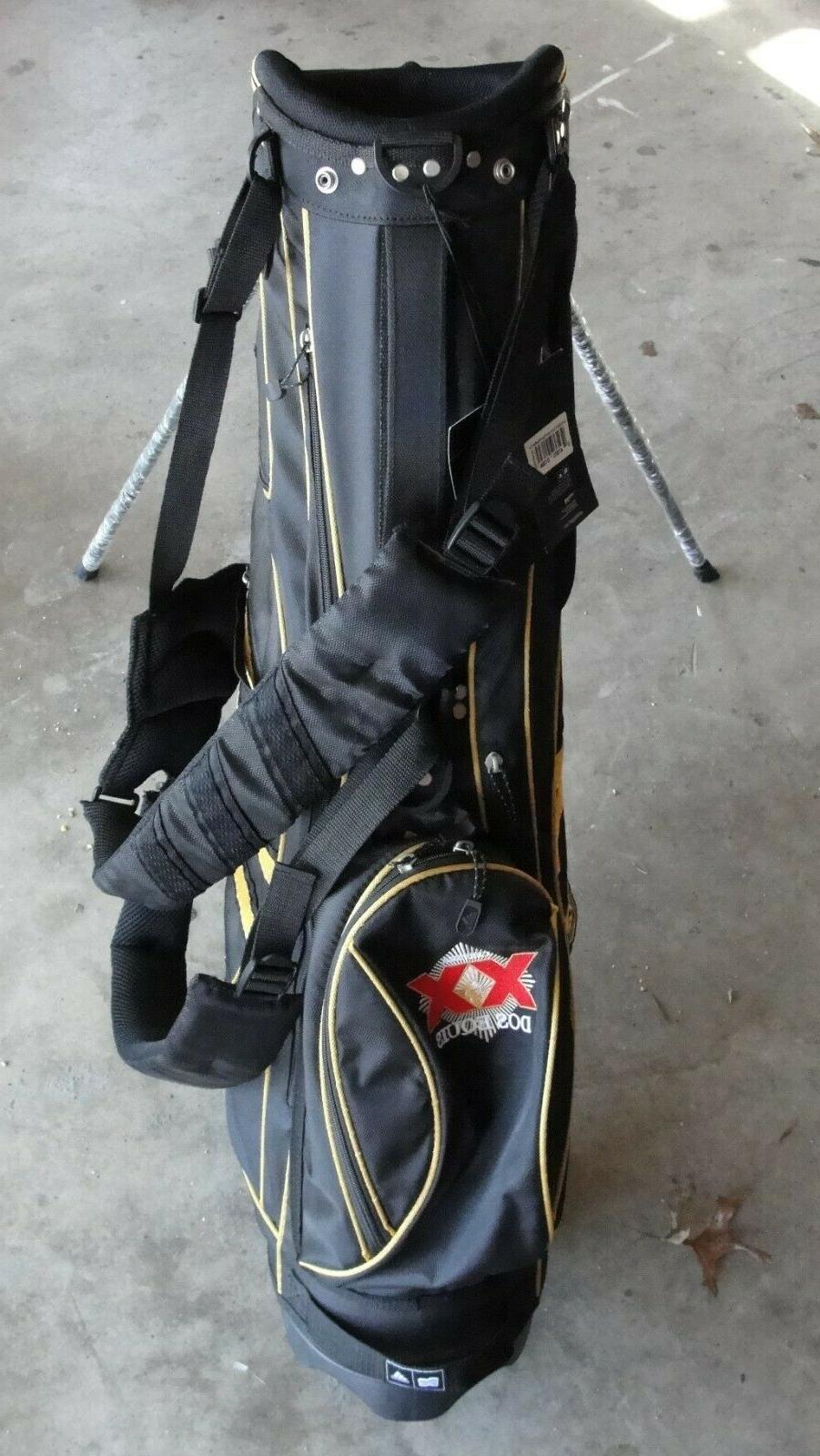 NEW Ascend Black Tan 6-Way Strap Stand Golf Bag