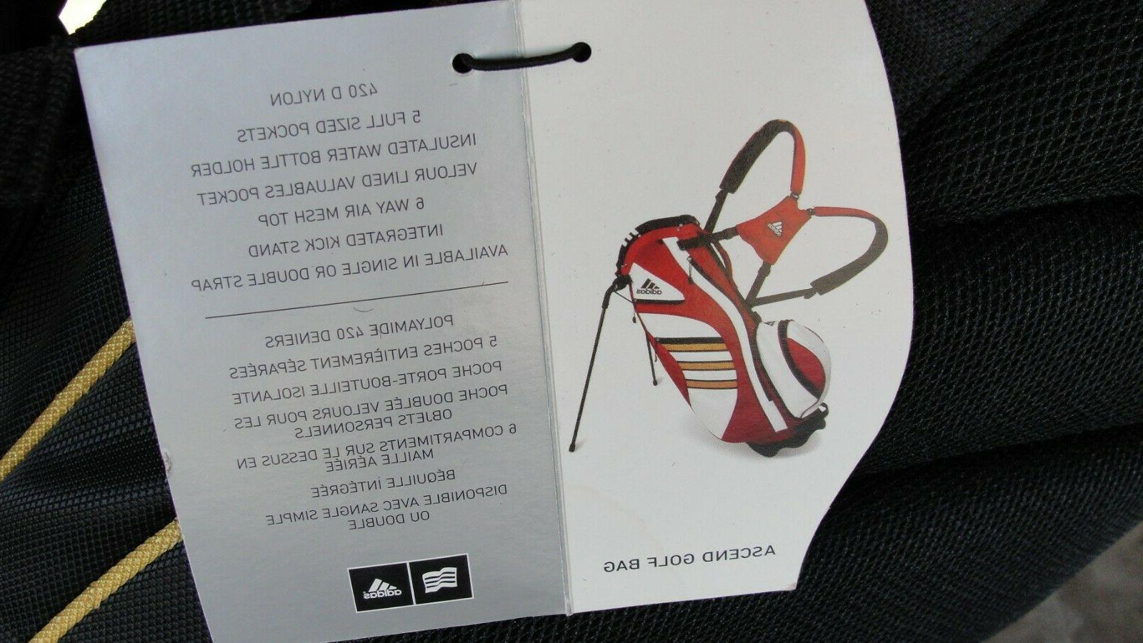 NEW Adidas DOS Ascend & Tan 6-Way Dual Strap Carry Stand Golf Bag