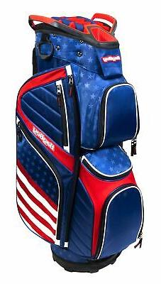 New Bag Boy Golf USA CB-15 Cart Bag Blue/Red/White