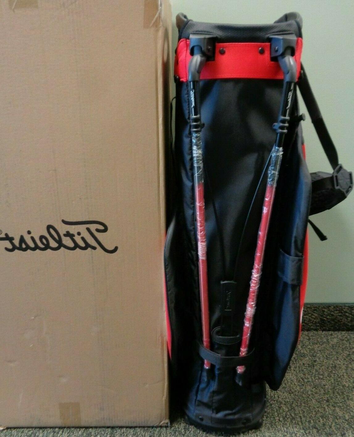 NEW Titleist HYBRID 14-Way Lightweight Bag, BLACK/WHITE/RED