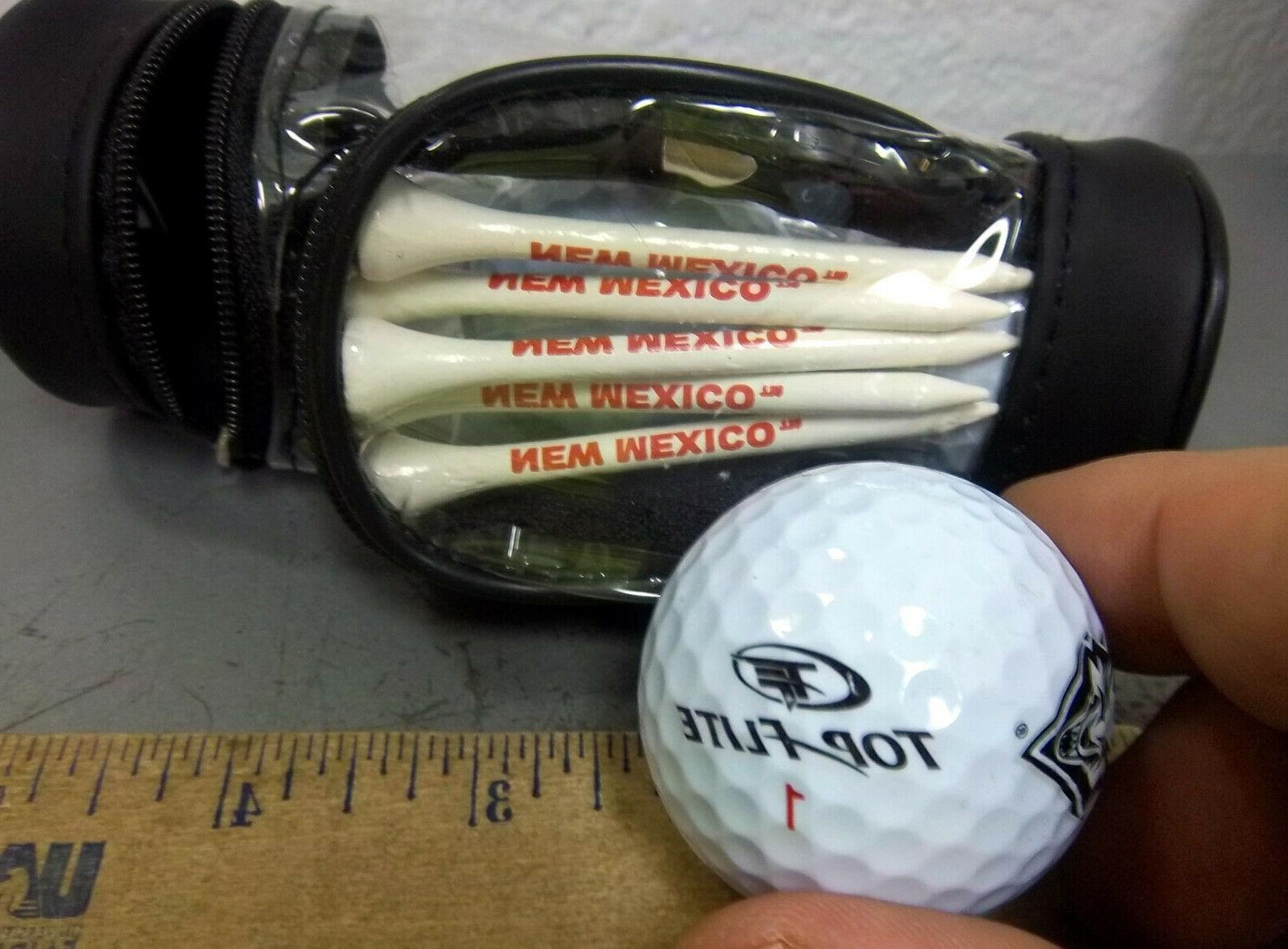 NEW MEXICO LOBOS golf ball & set, 3 balls, tees shape
